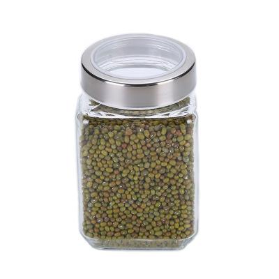 Square Transparent Glass Grain Storage Food Packaging Snack Jar