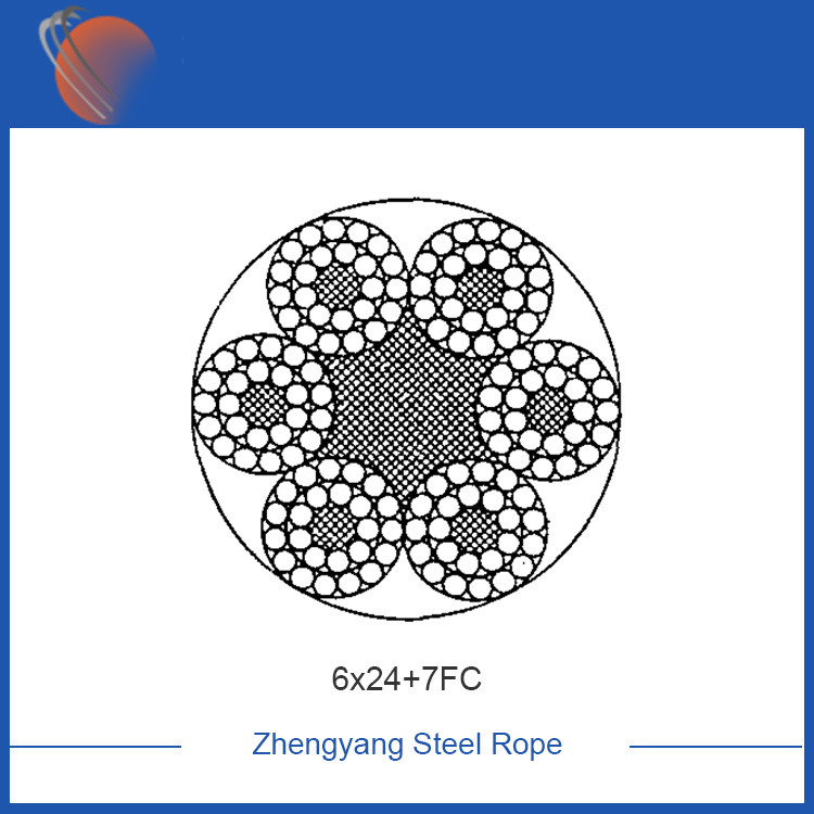 6x24+7FC galvanized steel wire rope