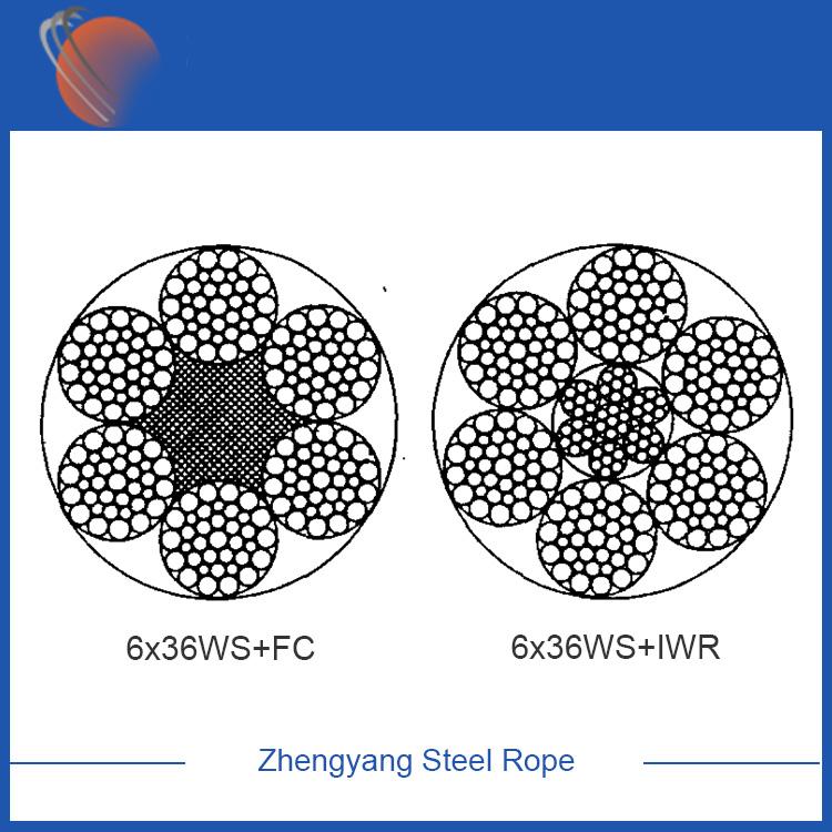 6x36WS+FC galvanized steel wire rope