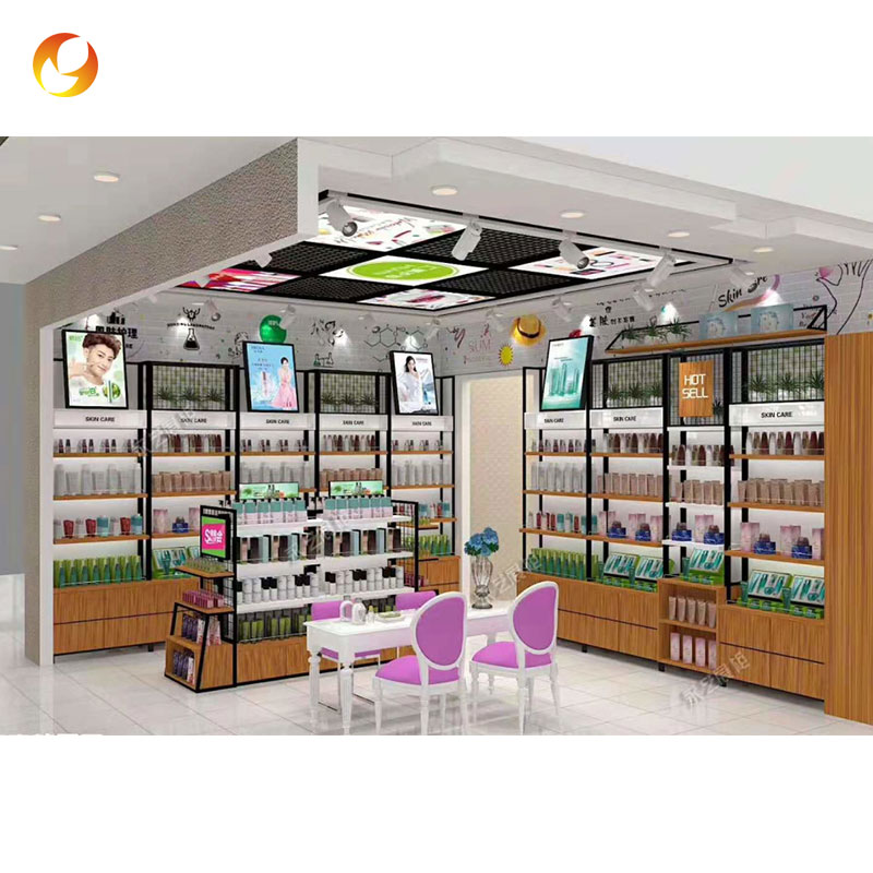 Fast Delivery Makeup Store Wall Cabinet Displays