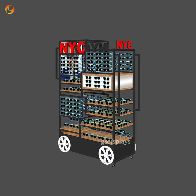 Moveable Sunglasses Display Cart