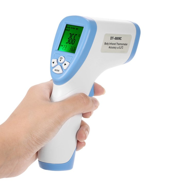 The portable infrared thermometer measures non-contact temperature
