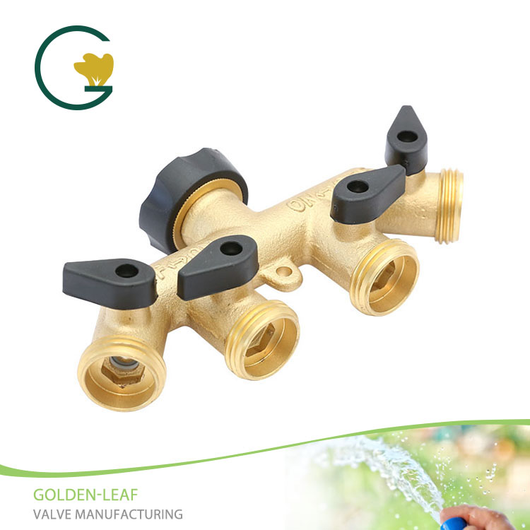 4 Way Brass Garden Hose Splitter Adapter connector