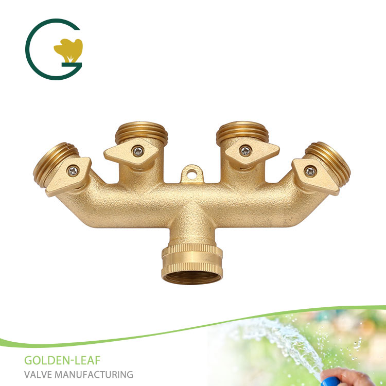 Brass Threaded Female/Male Garden Hose Manifold With Copper Switch Handle