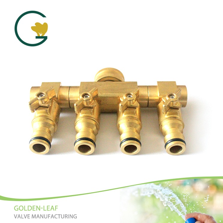 Duty Brass 4 Way Hose Manifold Hose Pipe Adapter
