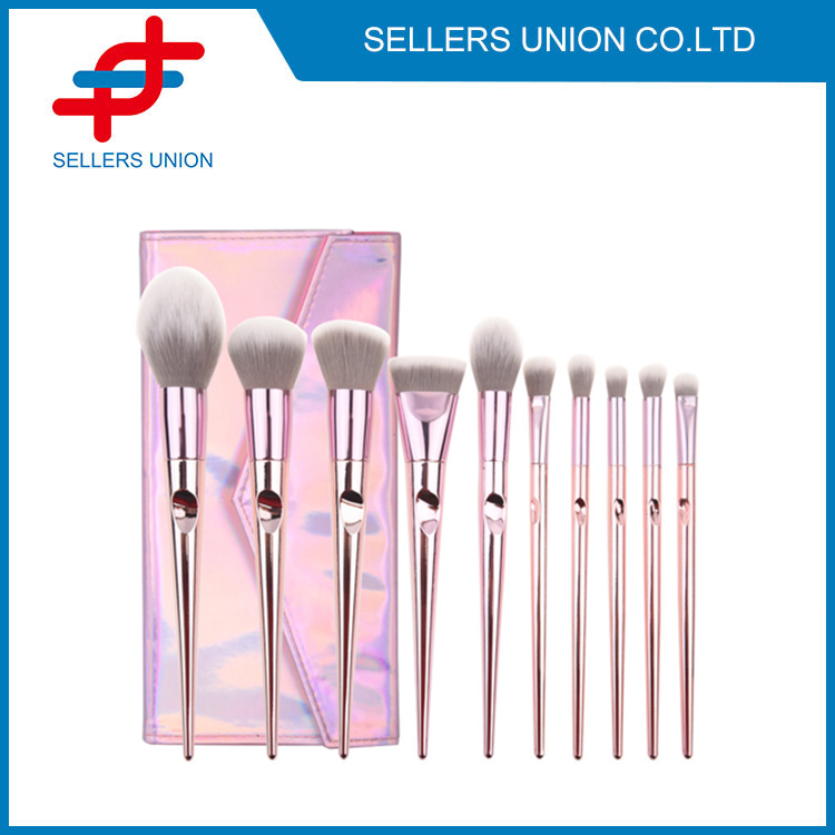 10pcs Rose Gold Makeup Brushes Set