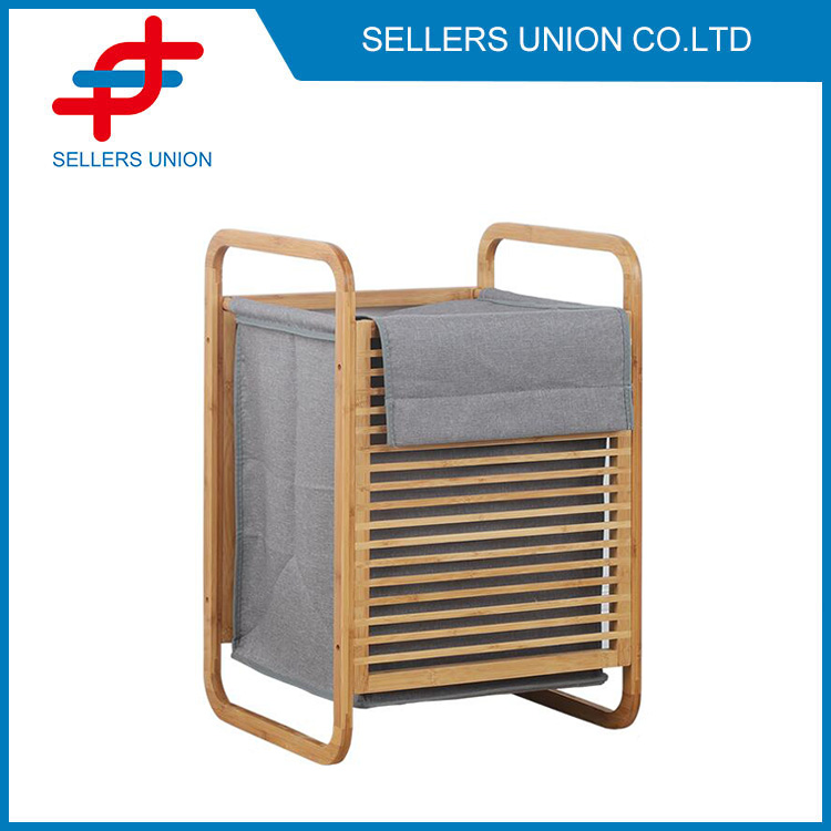 Bamboo Laundry Hamper with Rack