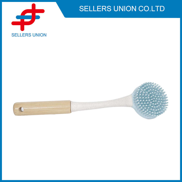 Two Side Silicone Bristles Brush With Wooden Handle-(3010-1)