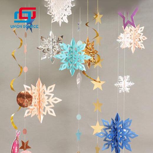 Papel 3D Garland Navidad Copo de nieve Colgante Bandera de papel Decoraciones para fiestas
