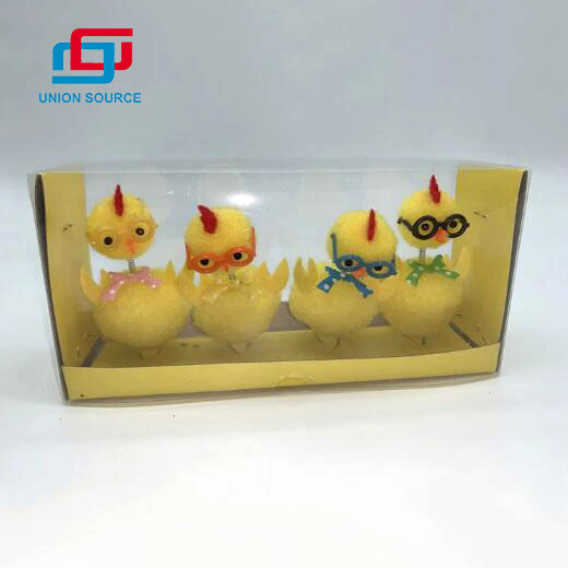 4 Pieces Happy Easter Handmade Easter Toys Spring Chick Plush With Glasses