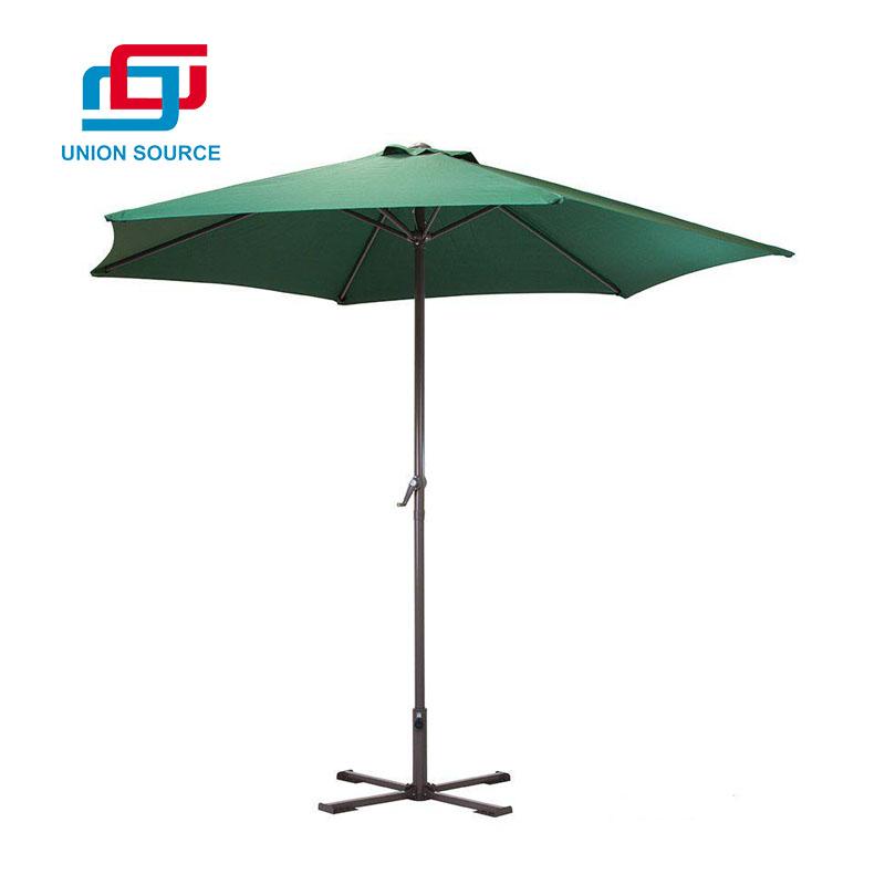 Paraguas del patio del tejido de poliester de 6 paneles con la base cruzada del metal