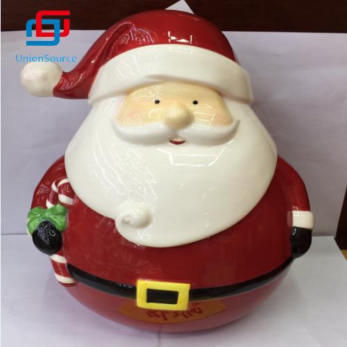 Ceramics Gingerbread Cookie Jar Christmas Biscuit Food Storage Indoor Home Decoration