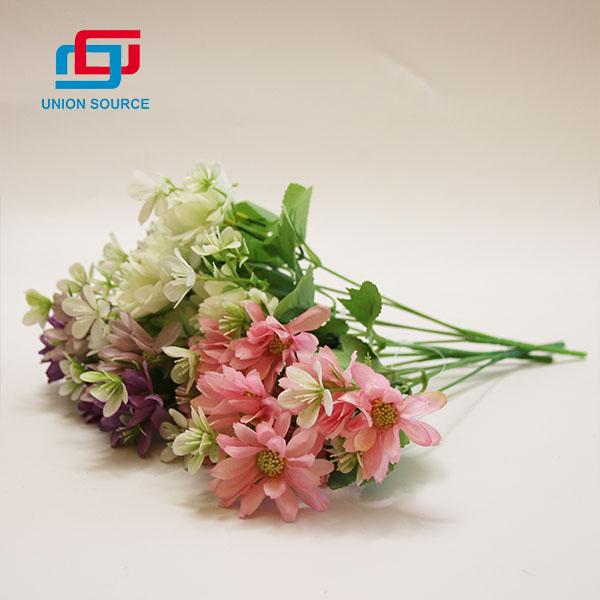 Precio barato 5 ramas 10 cabezas de flores artificiales de buena calidad para el hogar y el jardín