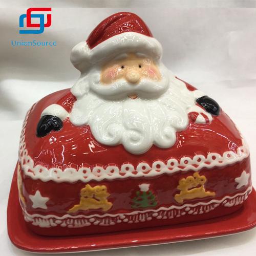 ຕູ້ເຂົ້າ ໜົມ ເກັບມ້ຽນຈີນເກັບມ້ຽນເຄື່ອງ ສຳ ອາງ 3D Christmas Santa Pattern ອອກແບບເຮືອນສີແດງ