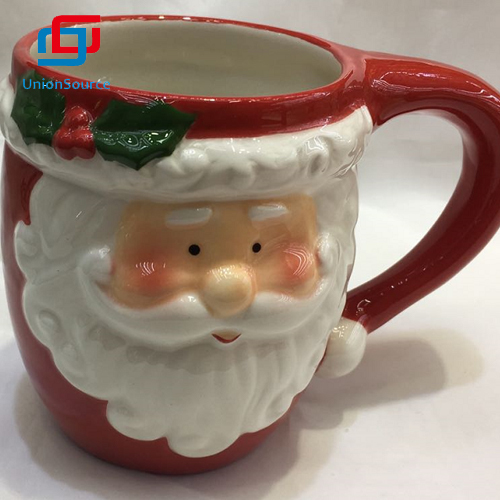 China Christmas Ceramics Cup  Supplier Santa Pattern Red Color Xmas Design Mug