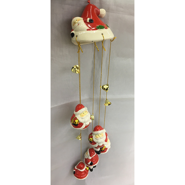 China Christmas Decoration Ceramics Personalized Pendant Gift Santa Pattern Hanging Ornament