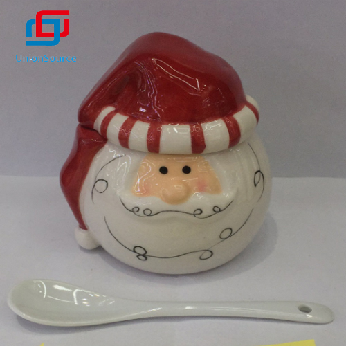 China Hand Painted Christmas Santa Design Ceramics Storage Container With Lid Candy Ceramic