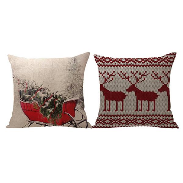 Linen Christmas Pillowcase Soft Pillow Cover