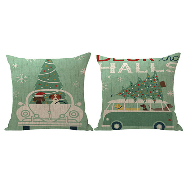 Linen Christmas Pillowcase Soft Pillow Cover