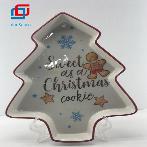China New Design Big Tree Plate Tableware Christmas Home Decoration For Cookie Using
