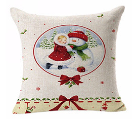 China Popular Christmas Style Linen Pillow Cover Soft  Pillowcase Home Decoration