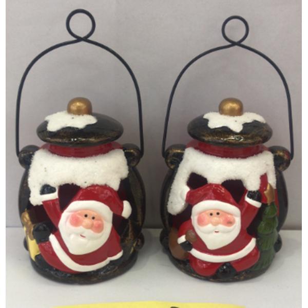 Christmas Decoration Ceramic Led Light Up Ceramic Santa Statue Hanging Ornaments
