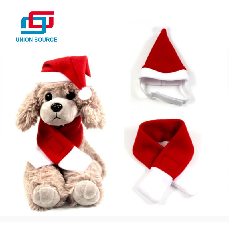 Christmas Hat Pet Cat Dress Set Red Christmas Scarf And Hat