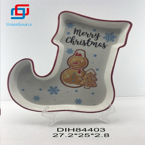 Christmas Socks Shape Food Plate Tableware Kitchen Decoration Made In China