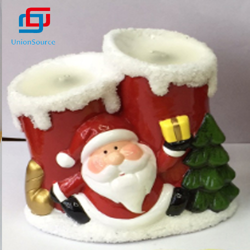 Christmas Style Custom Design Handmade  Fashionable Matte Ceramic Vessel Candle For Home Decoration