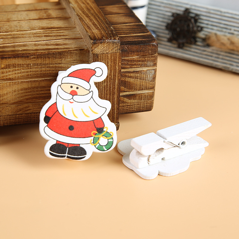 Christmas Wooden Clip With Rope 6pc/Set