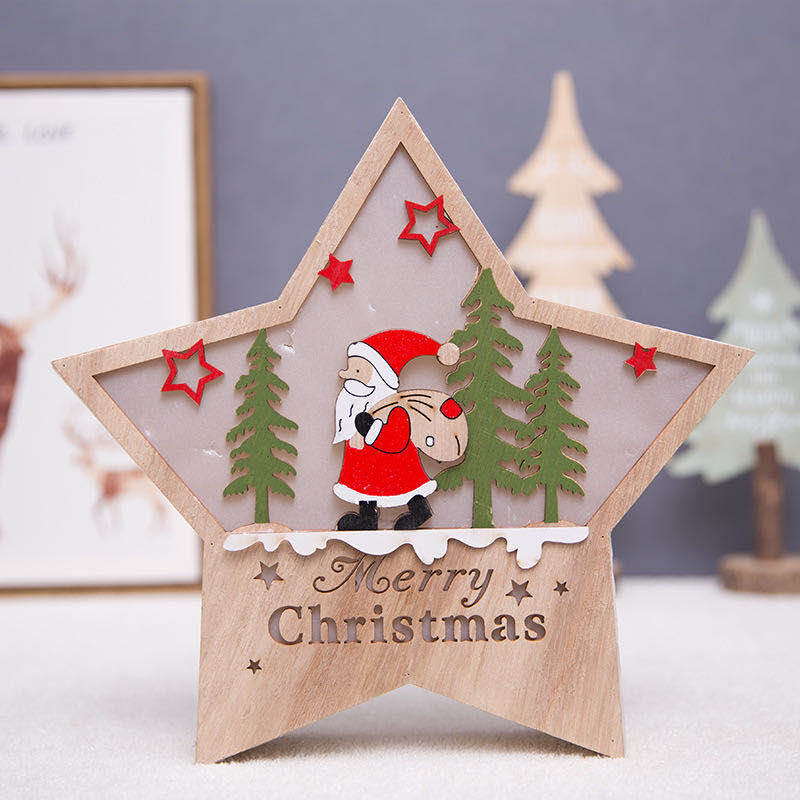 Christmas Wooden LED Light With Color Painted
