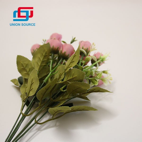 Competitive Price 5 Branches 10 Heads Rose Bud Bouquet For Home Decoration