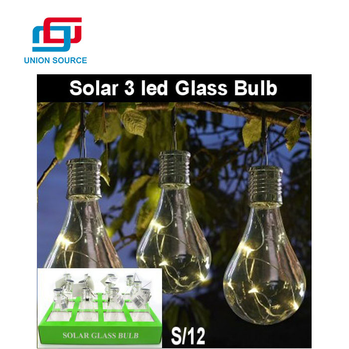 Competitive Price Solar Powered 3LEDS Glass Bulb