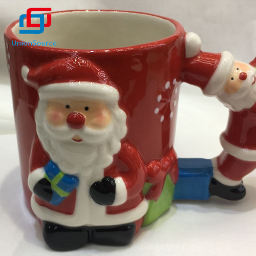 Creative Christmas Ceramic Cartoon Cute Santa Coffee Milk Mug Cup Without Lid Cup For Sale