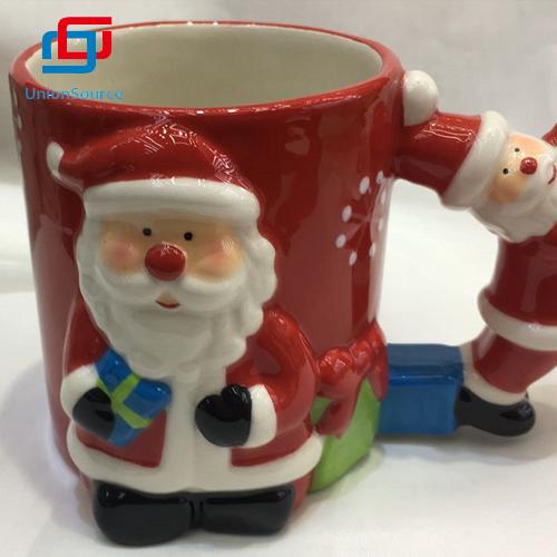 Kreatív karácsonyi kerámia rajzfilm aranyos Mikulás kávé tej bögre kupa fedél csésze nélkül eladó