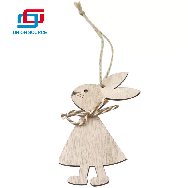 Customized Decorative Spring Easter Wooden Hanging Rabbit