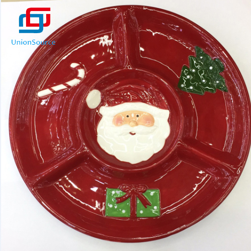 Dinner Round Ceramic 4 Compartments Snack Serving Tray For Xmas Divided Tray Christmas Plate