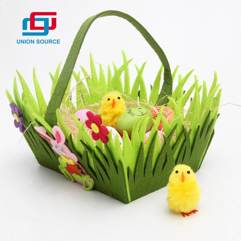 Bolsa de fieltro de Pascua con diseño de hierba para decoración del hogar
