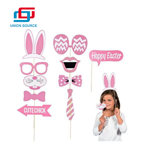 Easter Party Photo Booth Props Kit for Easter Egg Hunt Bunny Baby Chick Party Accessories