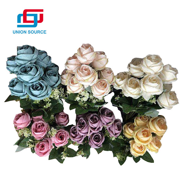 Ramo artificial europeo de la rosa de la pintura al óleo para la decoración