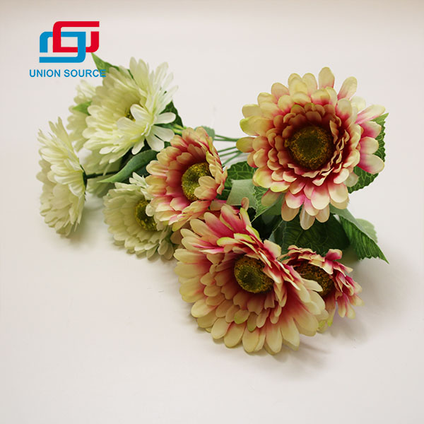 Factory Customized 5 Heads Artificial Oil Painting Gerbera Bouquet For Home And Garden Decoration