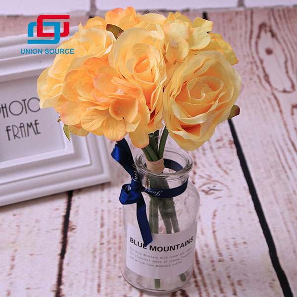 Factory Customized 7 Heads Rose Flowers Plastic Flowers High Simulation For Home And Garden Decoration
