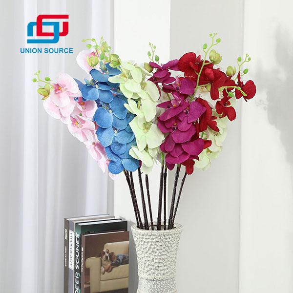 Flores de orquídea polilla de 8 cabezas personalizadas de fábrica flores de plástico de alta simulación para la decoración del hogar y el jardín