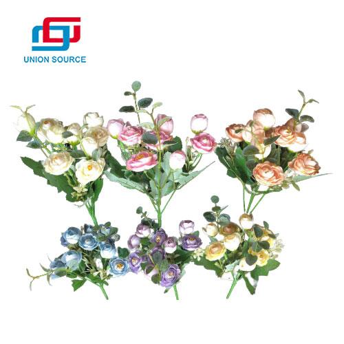 Precio de fábrica ramo de rosas de té de eucalipto para la decoración del hogar y la boda