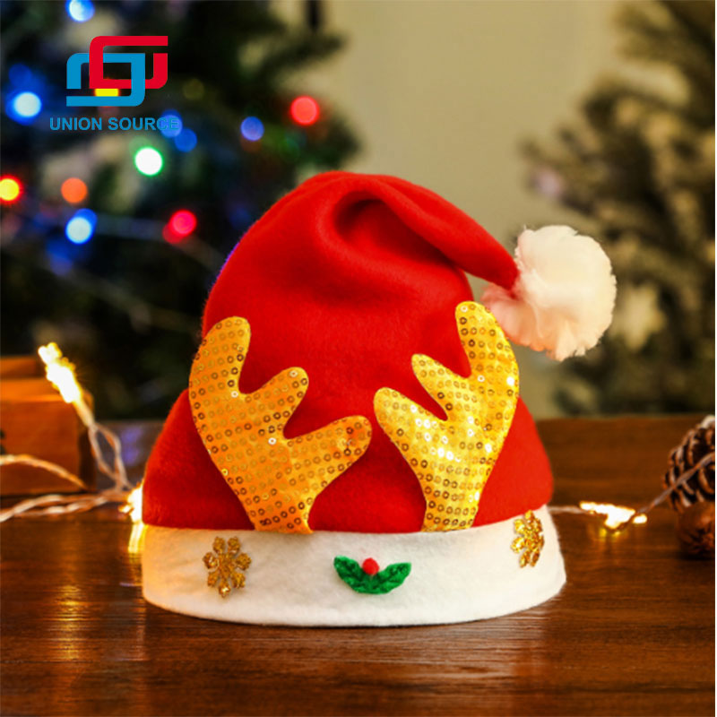 Factory Price Red Non-wowen Christmas Hat For Adult
