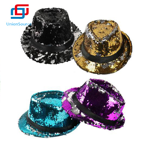 Fashion Glitter Jazz Style Trilby Hat New Year Adult Children Sequin Fedora Party Hat