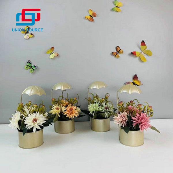 Forma de paraguas de plantas en maceta de crisantemo de alta simulación de buena calidad para decotation