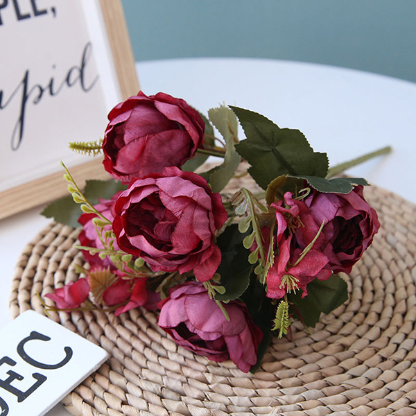 High Quality 5 Branches Peony Bouquet Artificial Flowers For Home Decoration