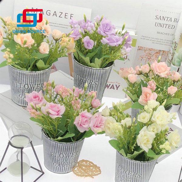 Plantas en macetas artificiales de alta calidad 5 cabezas que pintan rosas para la decoración del hogar