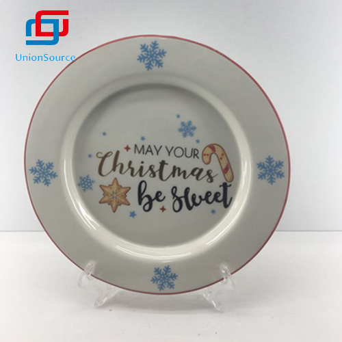 High Quality Christmas Round Ceramic Dinner Plate Tableware